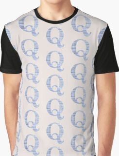 Letter Q Blue Watercolor Stripes Monogram Initial Graphic T-Shirt