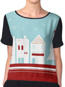 Winter christmas town with falling snow Chiffon Top