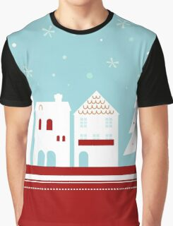 Winter christmas town with falling snow Graphic T-Shirt
