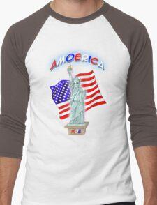 Amoerica the Land of the Free Men's Baseball ¾ T-Shirt