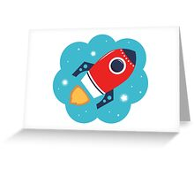 Spaceship or Rocket in Blue Cloud Greeting Card