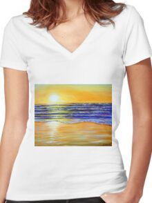 New Year's Eve Sunset Women's Fitted V-Neck T-Shirt