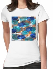 Blue Gray Orange Ovals Womens Fitted T-Shirt