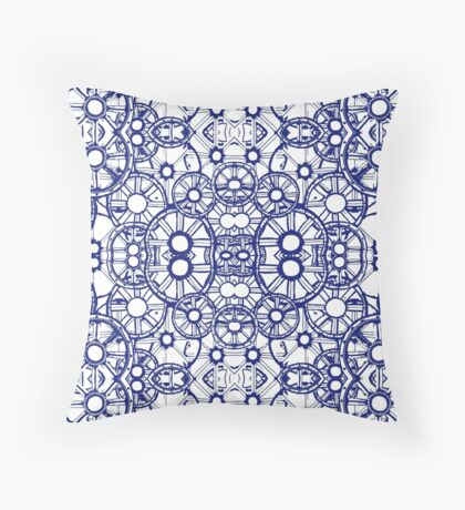 Train Wheels and Cogs - Blue Throw Pillow