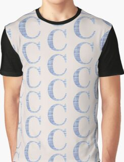 Letter C Blue Watercolor Stripes Monogram Initial Graphic T-Shirt