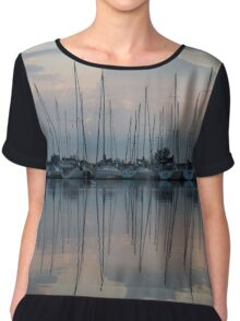 Pastel Sailboats Reflections at Dusk Chiffon Top