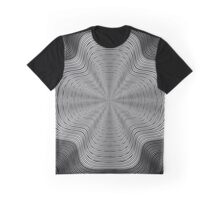 Modern Black and White Curvy Swirled Stripes Graphic T-Shirt