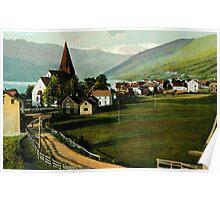 Vintage Voss Vossevangen village Norway Poster