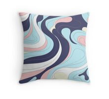 Retro abstract in blues, pink and pale gold Throw Pillow