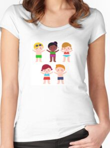 Little cute colorful summer Kids Women's Fitted Scoop T-Shirt