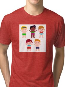 Little cute colorful summer Kids Tri-blend T-Shirt