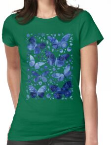 Blue Butterflies Womens Fitted T-Shirt