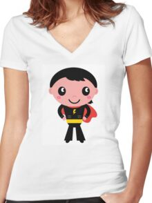 Cute young Super hero boy - Black + Red Women's Fitted V-Neck T-Shirt