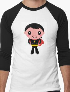 Cute young Super hero boy - Black + Red Men's Baseball ¾ T-Shirt