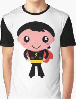 Cute young Super hero boy - Black + Red Graphic T-Shirt