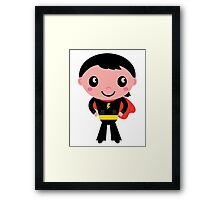 Cute young Super hero boy - Black + Red Framed Print
