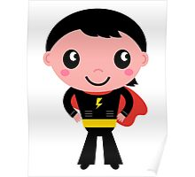 Cute young Super hero boy - Black + Red Poster