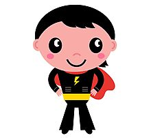 Cute young Super hero boy - Black + Red Photographic Print