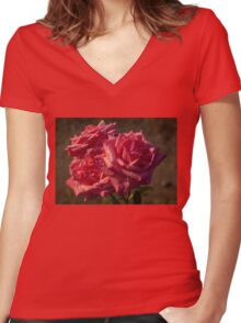 From My Mother's Garden - Three Fabulous Old Fashioned Sweetheart Roses Women's Fitted V-Neck T-Shirt