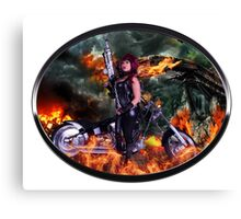 Sexy Biker road warrior Canvas Print