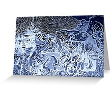 Blue serenity graffiti Greeting Card