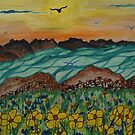 Birds over floral meadow by George Hunter