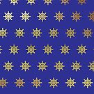 Ship's Wheel Gold and Royal Blue Products by Vickie Emms