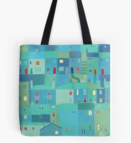 Blue town from the steps Tote Bag
