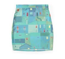 Blue town from the steps Mini Skirt