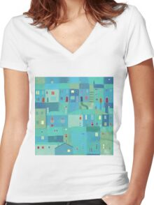 Blue town from the steps Women's Fitted V-Neck T-Shirt