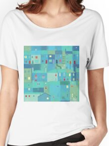 Blue town from the steps Women's Relaxed Fit T-Shirt