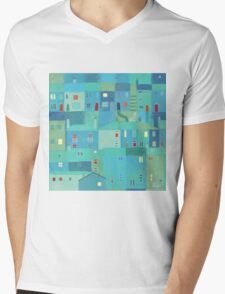 Blue town from the steps Mens V-Neck T-Shirt