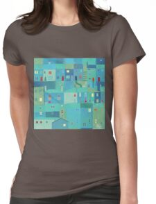 Blue town from the steps Womens Fitted T-Shirt