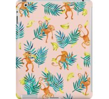 Tropical Monkey Banana Bonanza on Blush Pink iPad Case/Skin