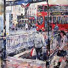 London Art - Underground Subway & Red Bus by Ballet Dance-Artist