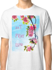 Pink Cherry Blossoms on Branch Classic T-Shirt