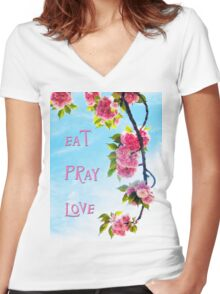 Pink Cherry Blossoms on Branch Women's Fitted V-Neck T-Shirt