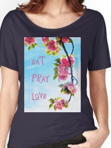 Pink Cherry Blossoms on Branch Women's Relaxed Fit T-Shirt