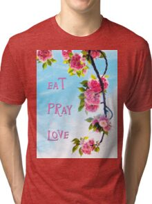 Pink Cherry Blossoms on Branch Tri-blend T-Shirt