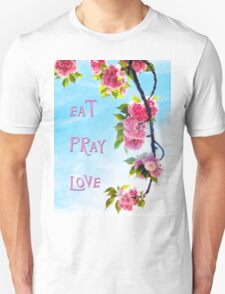 Pink Cherry Blossoms on Branch Unisex T-Shirt