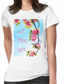 Pink Cherry Blossoms on Branch Womens Fitted T-Shirt