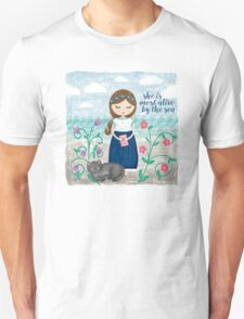She is most alive by the sea Unisex T-Shirt