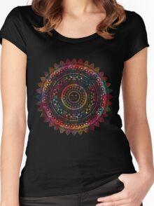 Rainbow Kitty Cat Mandala Women's Fitted Scoop T-Shirt