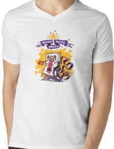 Retro Music Party Poster Mens V-Neck T-Shirt