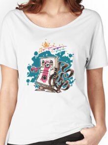 Cartoon Audio Cassette Tape on Dark Background Women's Relaxed Fit T-Shirt