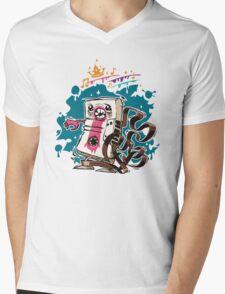 Cartoon Audio Cassette Tape on Dark Background Mens V-Neck T-Shirt