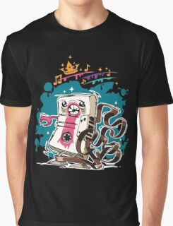 Cartoon Audio Cassette Tape on Dark Background Graphic T-Shirt