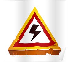 electrical hazard sign Poster