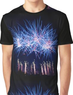 Blue Fireworks Graphic T-Shirt