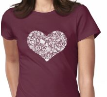 Valentites heart of objects white Womens Fitted T-Shirt